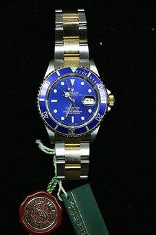 Wristwatch, Rolex, Watch, Submariner, Blue, Clock