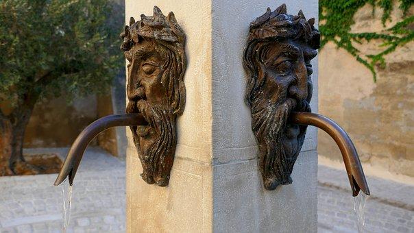 Fountain, Face, Bronze, Uzes, France, Gard
