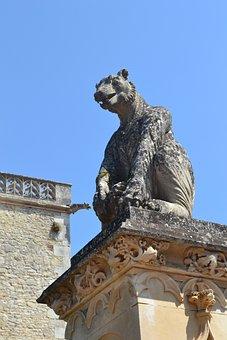 Stone Statue, Monster, Chateau Des Milandes, Base