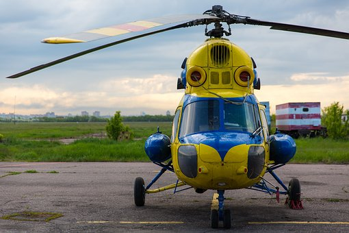 Helicopter, Parking, Airport, Nose, Cabin