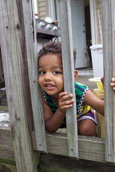 Child, Porch, Picture, Gates, Funny, Smile, Boy, Kid