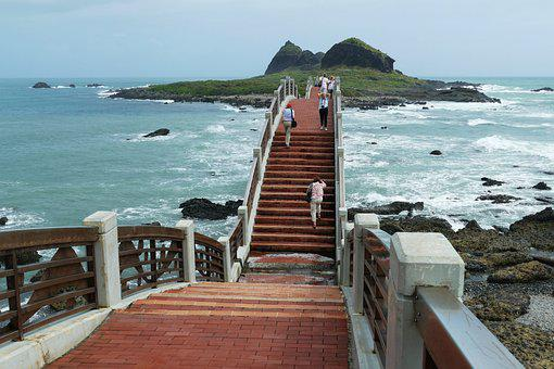 Bridge, Taiwan, Sanxiantai, Sea, Pacific, Ocean, Bank