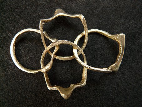 Rings, Metal Ring, Metal, Puzzle, Cast Iron, Four