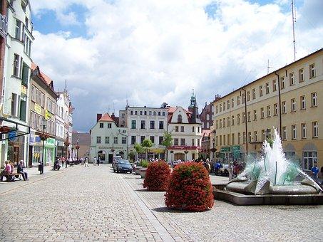 Fountain, Zary, Town Square, Lubusz, Architecture, City
