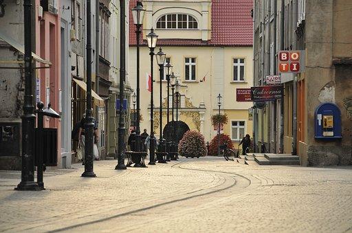 żary, Morning, Street, Houses, Lanterns