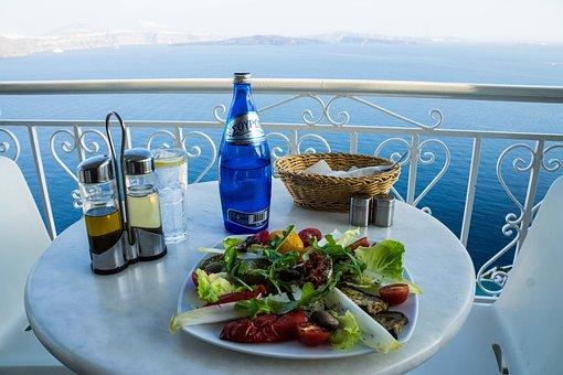Retaurant, Dining, Table, Plate, Dish, Santorini, Oia