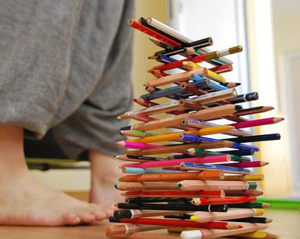 Pencils, Color, Feet, Tower, Rainbow, Red, Green, Wood