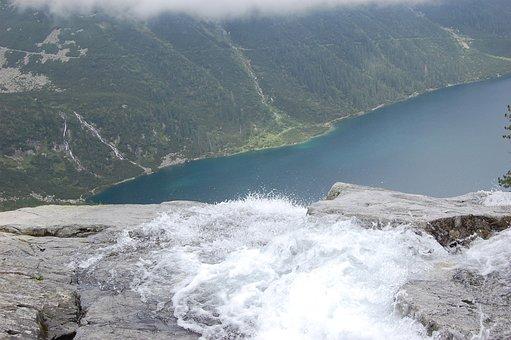 Top View, Landscape, Tatra, Lake, Water, Waterfall