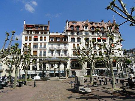 France, Aix-les-bains, City, Urban, Buildings