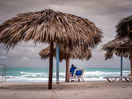 Clouds, Beach, Sea, Sky, Gloomy, Beach Chair, Sunset
