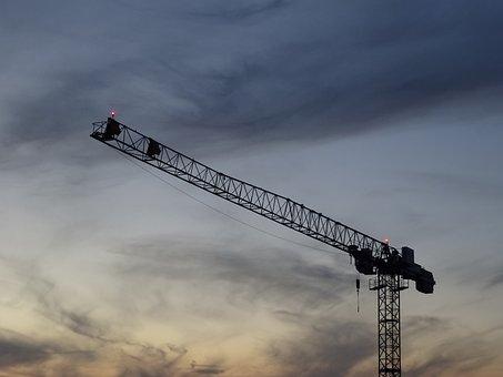 Crane, Construction, Sky, Clouds, Evening, Scaffold