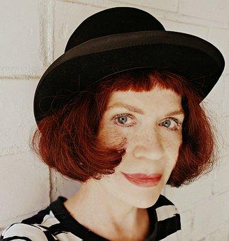 Portrait, Face, Woman, Caucasian, Hair, Redhead, Hat