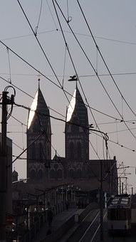 Freiburg, Church Steeples, Twilight, Rays, Faith, Hell