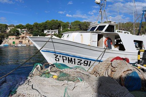 Mallorca, Cala Figuera, Fishing Boat, Fishing Net
