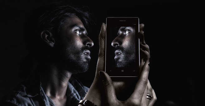 Smartphone, Face, Man, Eyes, View, Double, Philosophy