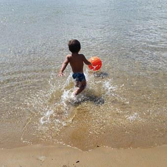 Sea, Ionian Sea, Calabria, Child, Two Years, Ball