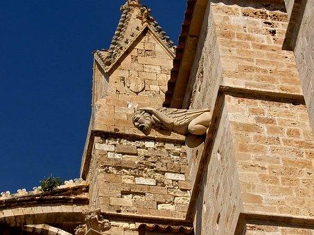 Mallorca, Holiday, Church, Gargoyle, Construction, Sea
