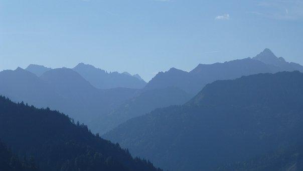Allgäu, Panorama, View, Mountains, Hochvogel, Shadow