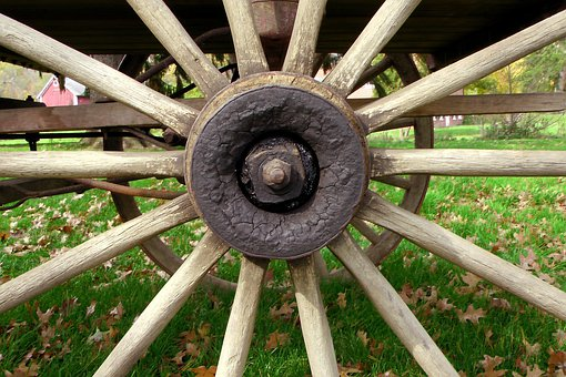 Wheel, Wooden, Hand Turned, Hand Made, Old Fashioned