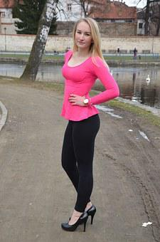 Girl, Lady, Barbora, Pink, Park, Winter