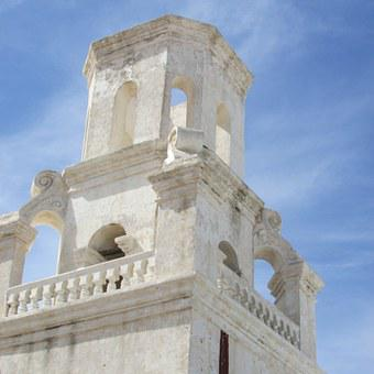 Church, Historic, Landmark, Building, Sky, Blue, Tucson