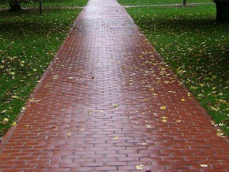 Trail, Bricks, Paved, Walking, Park, Pathway, Walk