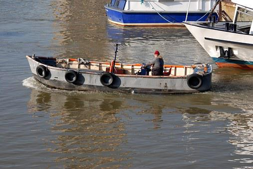 Skiff, Boatman, River, Thames, London