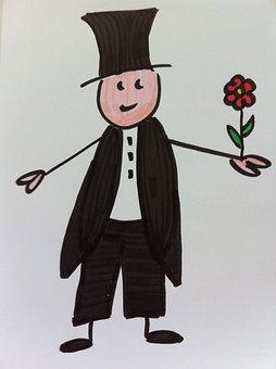 Groom, Kindergarten, Stick Figure