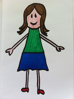 Woman, Kindergarten, Stick Figure