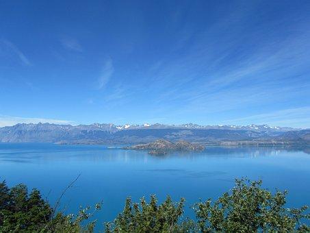 Lago General Carrera, Lake, Chile, Mountains, Blue