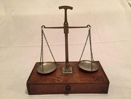 Scales Of Justice, Weigh In, Antique, Scale, Even