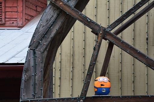 Minion, Pumpkin, Wheel, Water Wheel, Mill, Fall