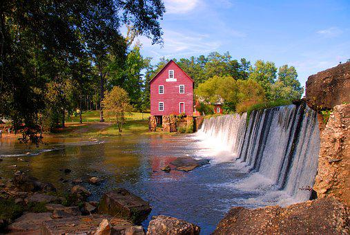 Mill, Georgia, Landscape, Nature, Building, Landmark