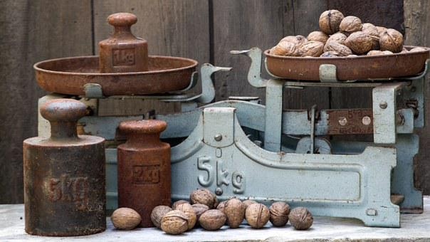 Horizontal, Old, Weights, Old Scale, Nuts, Weigh