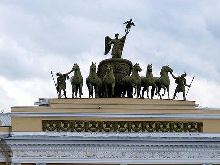 Quadriga, St Petersburg, Russia, Horse, Architecture