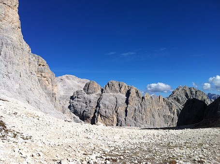 Trekking, Mountain, Blue, Sky, Landscape, Rock