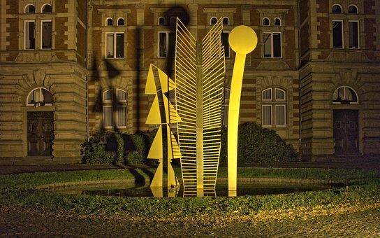 Modern Art, Abendstimmung, Building, Illuminated, Art