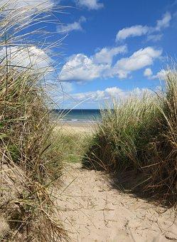 Dunes, Northumberland, Sea, Coast, England, Beach, Uk