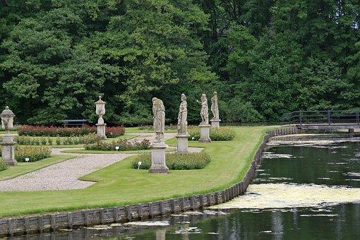 Isselburg, Germany, Estate, Sculptures, Pond, Water