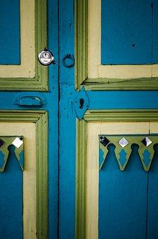Door, Lock, Blue, Yellow, Rustic, Iron, Wood, Keys