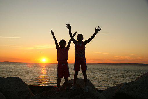 Sunset, Children, Child, Kid, Fun, People, Childhood