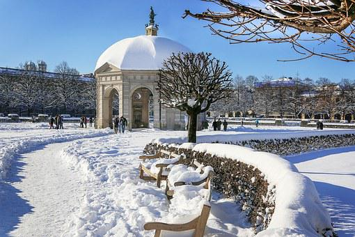 Munich, English Garden, Monopteros, Winter, Snow