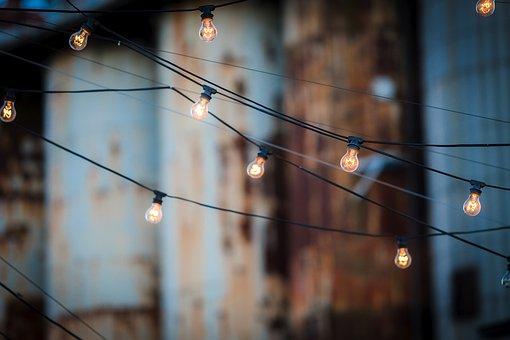 Light Bulbs, Wire, Hanging, Many, Bulb, Light, Lamp