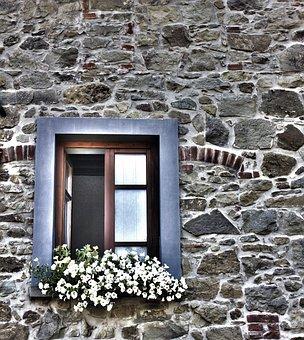 Window, Flowery Window, House, Architecture, Old Façade