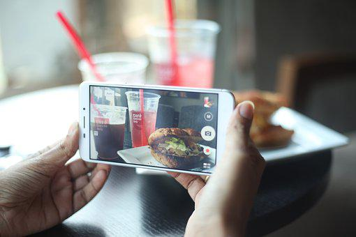Phone, Smartphone, Cafe, Taking Picture, Food Porn