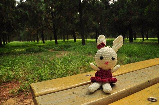 Rabbit, Doll, Toys, Girls, Cute, Park, Bench
