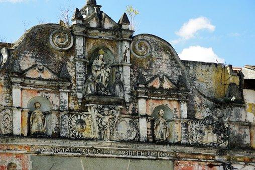 Antigua, Guatemala, Ruin, Church, Earthquake, Statues