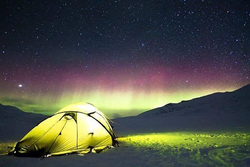 Auroras, Camp, Tent, Adventure, Fire, Holiday, Nature