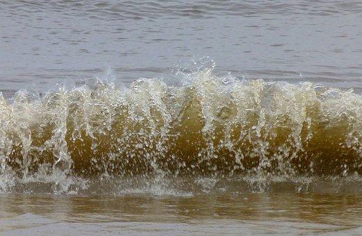 Water, Elbe, Wave, Beach, Spray, River, Shipping, Bank