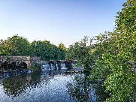 Belper, Derbyshire, Peak District, River, Weir, Peak